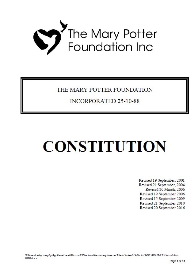 The Mary Potter Foundation Constitution
