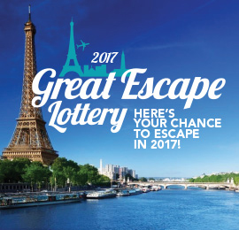 Win a trip to Paris!  <br/><br/> Buy your tickets in the Great Escape Lottery today!