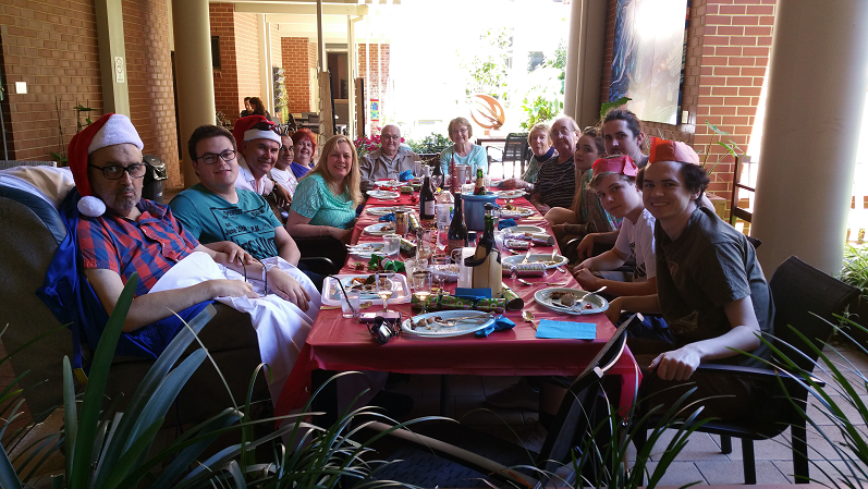 Family eating Christmas lunch together